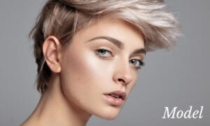 Model With Short Hair Showing No Wrinkles on Skin
